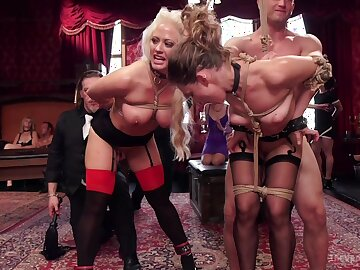 Uncover women posing hot and submissive during insane orgy